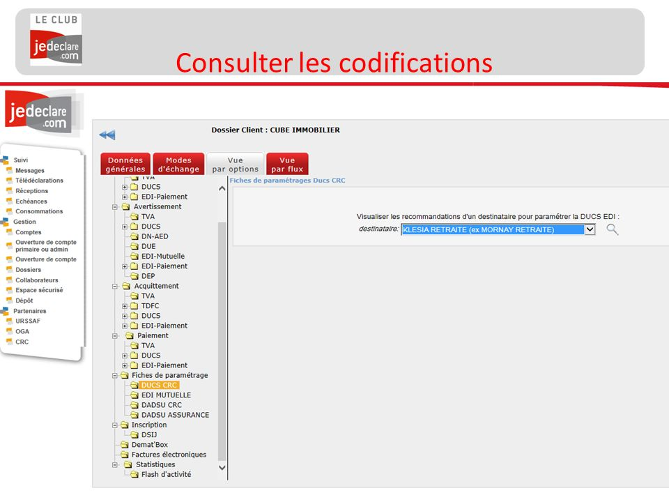 Consulter les codifications