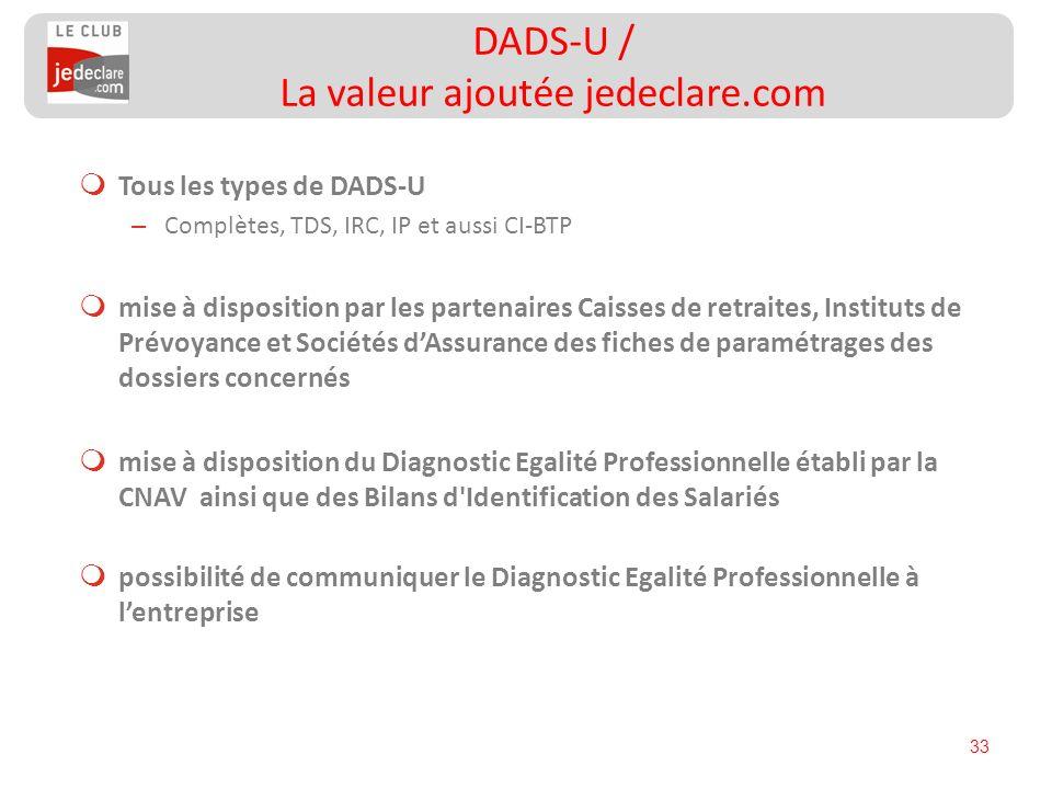 DADS-U / La valeur ajoutée jedeclare.com
