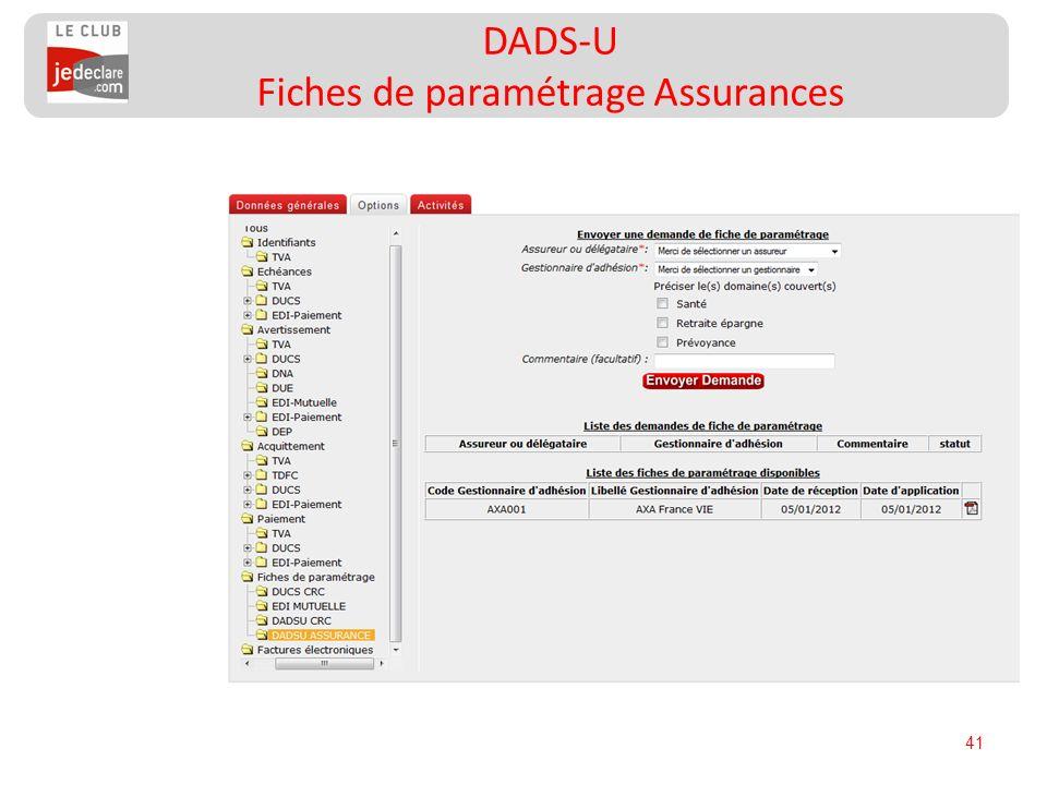 DADS-U Fiches de paramétrage Assurances
