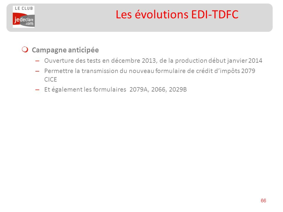 Les évolutions EDI-TDFC
