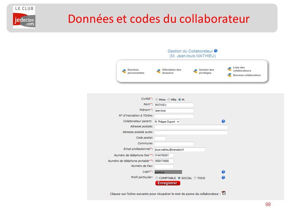 Données et codes du collaborateur