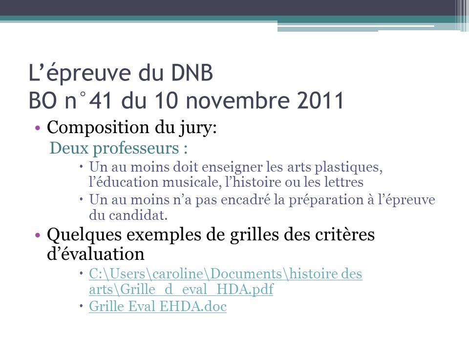 L'épreuve du DNB BO n°41 du 10 novembre 2011
