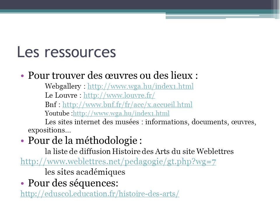 Les ressources Pour trouver des œuvres ou des lieux :