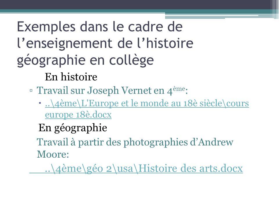 Exemples dans le cadre de l'enseignement de l'histoire géographie en collège
