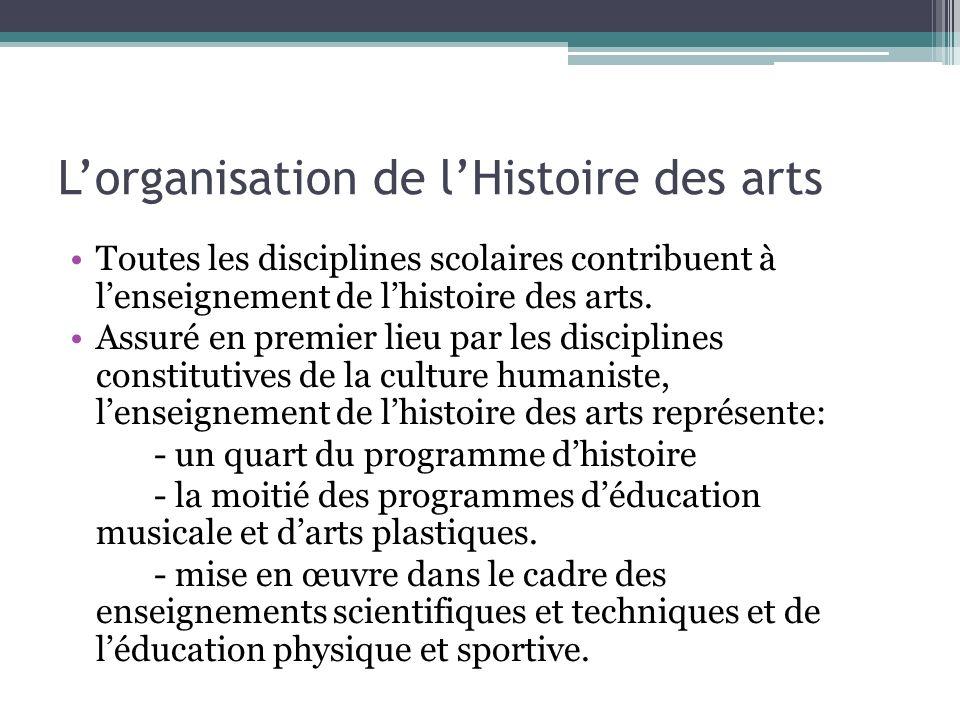 L'organisation de l'Histoire des arts