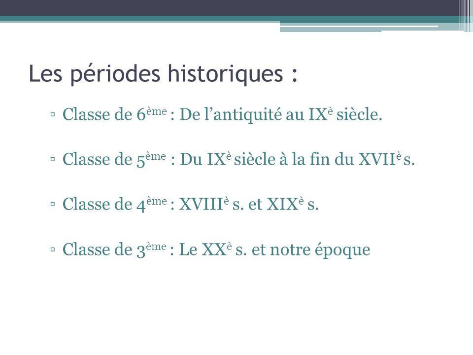 Les périodes historiques :