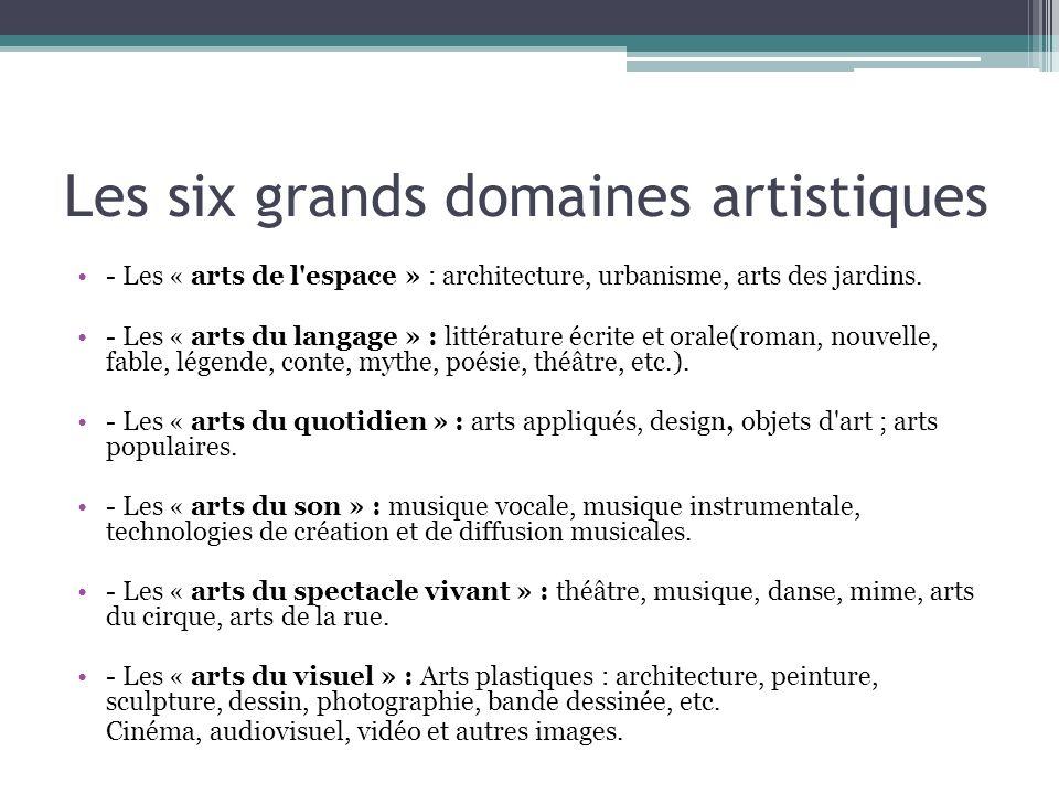 Les six grands domaines artistiques