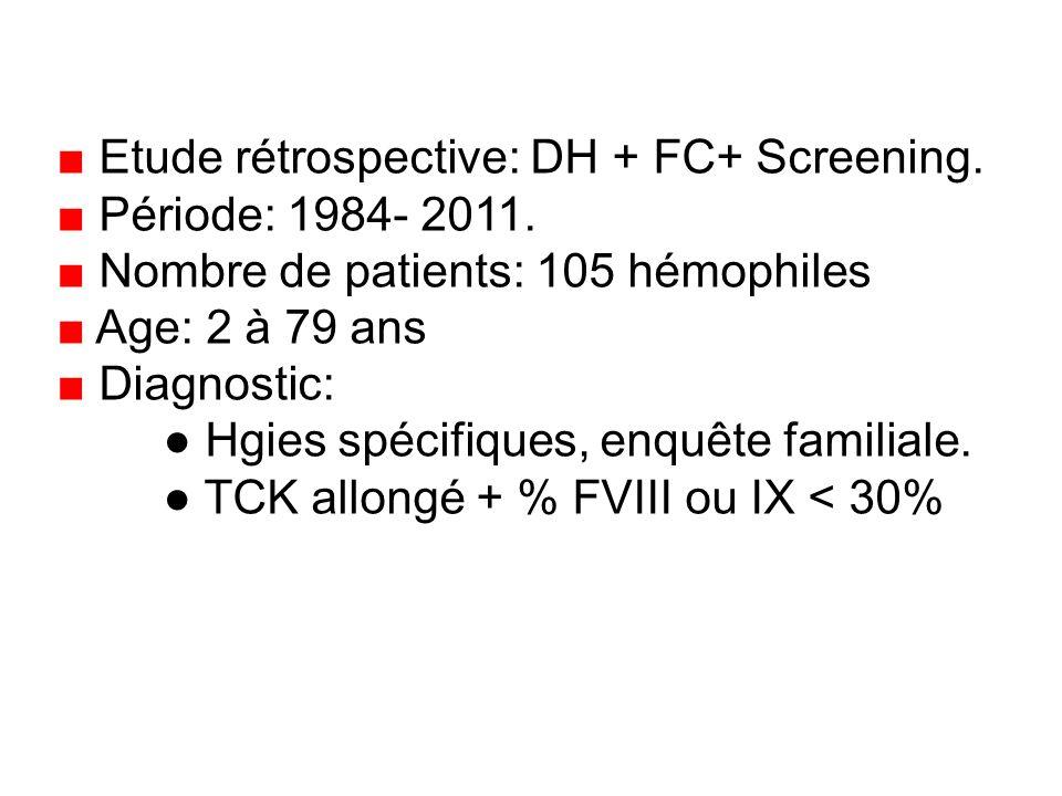 ■ Etude rétrospective: DH + FC+ Screening.
