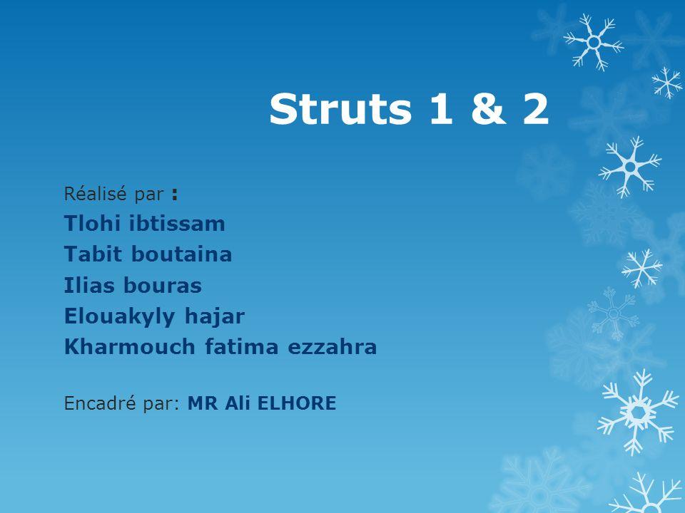 Struts 1 & 2 Tlohi ibtissam Tabit boutaina Ilias bouras