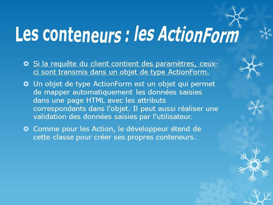 Les conteneurs : les ActionForm