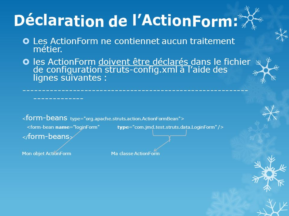 Déclaration de l'ActionForm: