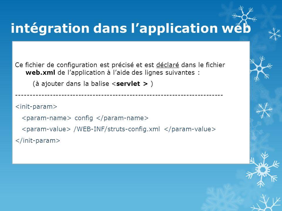 intégration dans l'application web