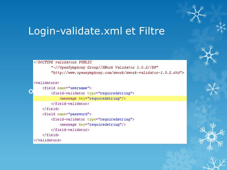 Login-validate.xml et Filtre