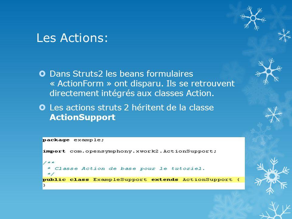 Les Actions: Dans Struts2 les beans formulaires « ActionForm » ont disparu. Ils se retrouvent directement intégrés aux classes Action.