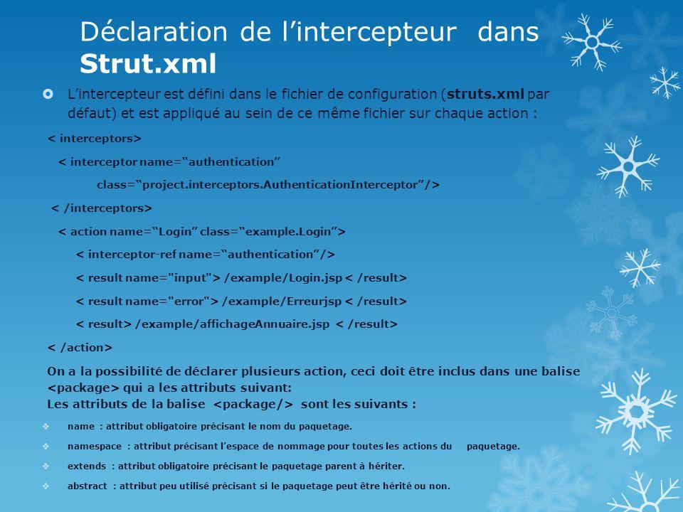 Déclaration de l'intercepteur dans Strut.xml
