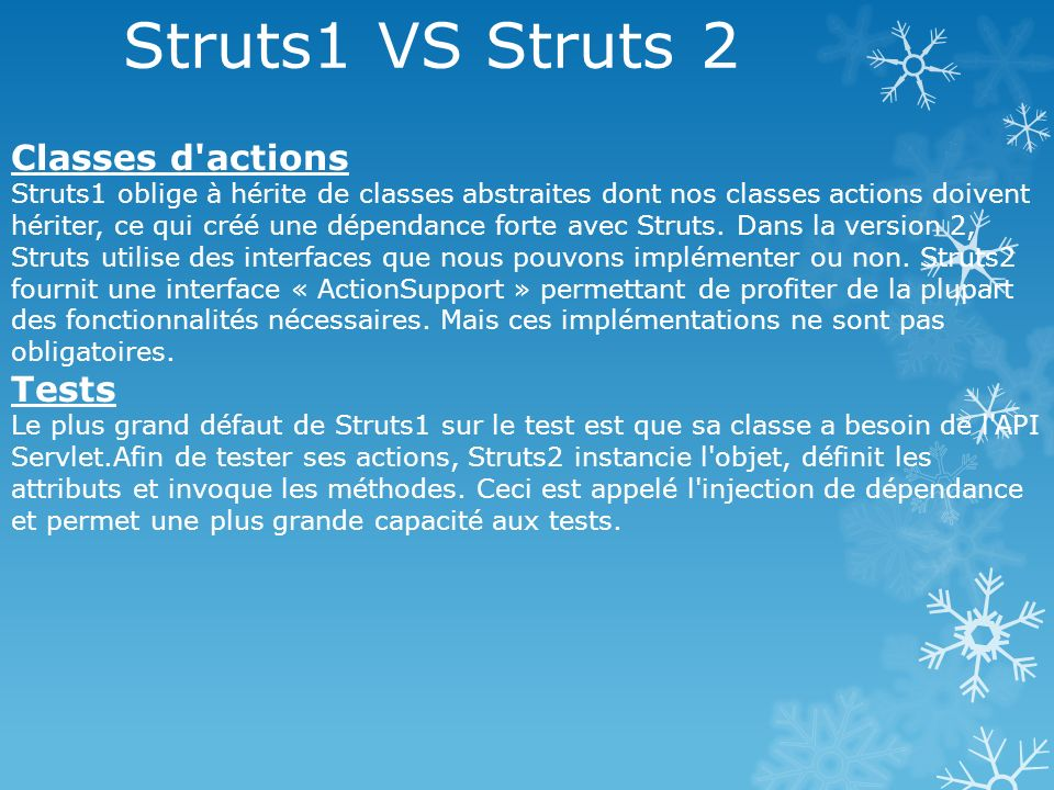 Struts1 VS Struts 2 Classes d actions Tests