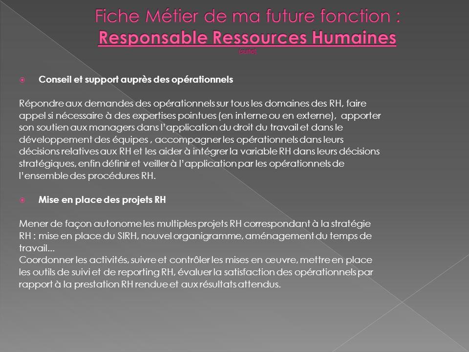 Fiche Métier de ma future fonction : Responsable Ressources Humaines (suite)
