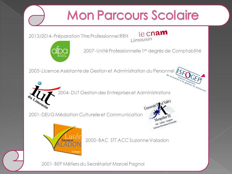 Mon Parcours Scolaire 2013/2014- Préparation Titre Professionnel RRH