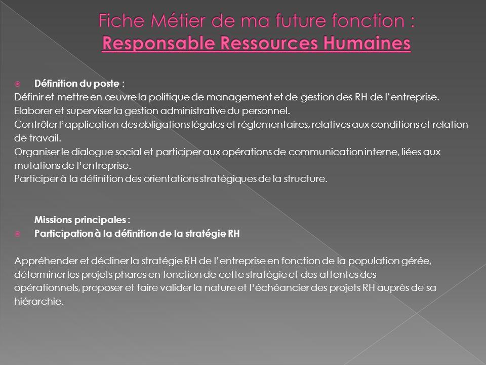 Fiche Métier de ma future fonction : Responsable Ressources Humaines