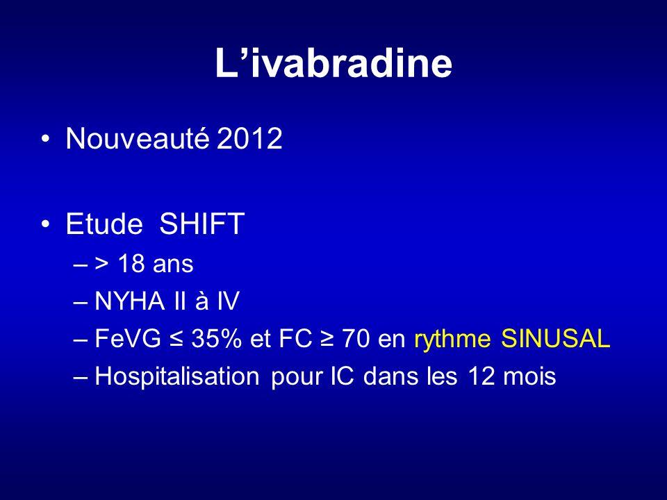L'ivabradine Nouveauté 2012 Etude SHIFT > 18 ans NYHA II à IV