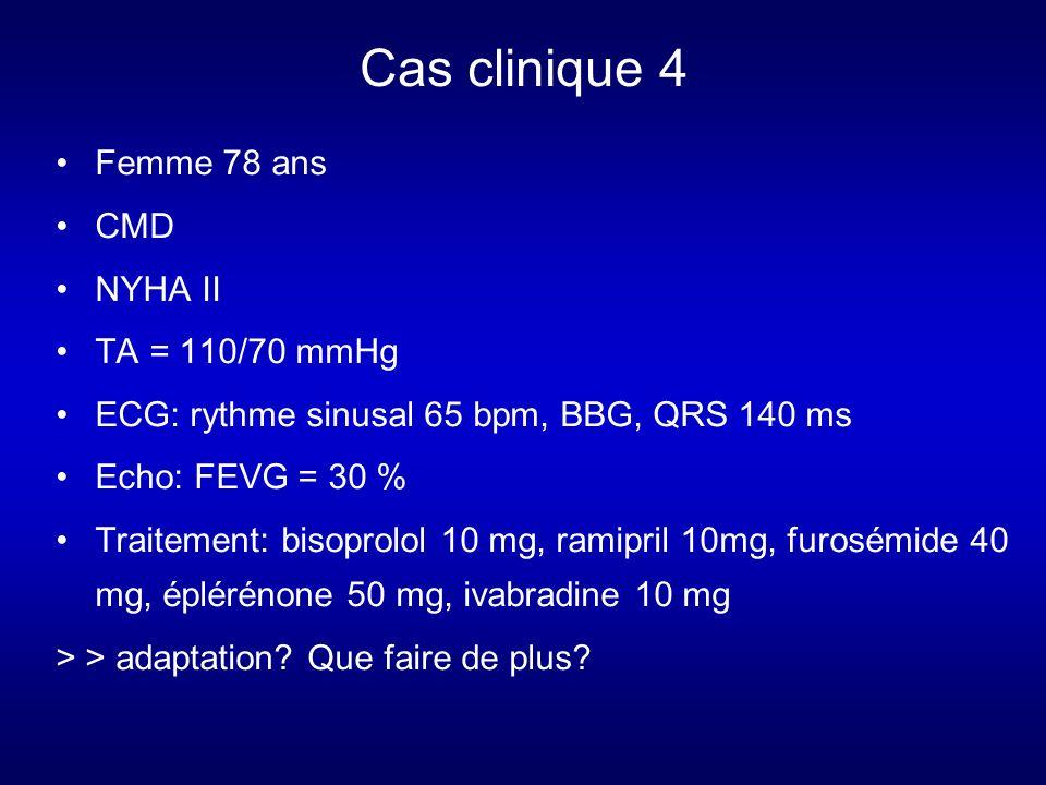 Cas clinique 4 Femme 78 ans CMD NYHA II TA = 110/70 mmHg
