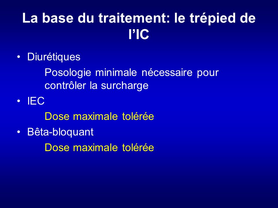 La base du traitement: le trépied de l'IC