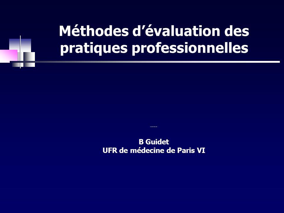 Méthodes d'évaluation des pratiques professionnelles ---- B Guidet UFR de médecine de Paris VI
