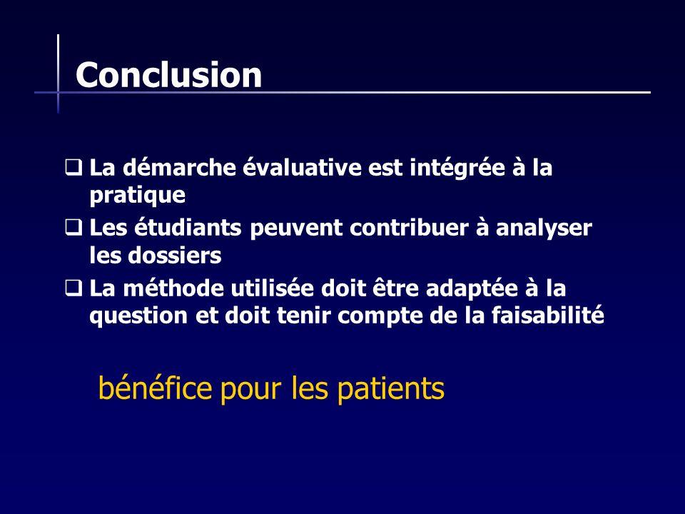 Conclusion bénéfice pour les patients