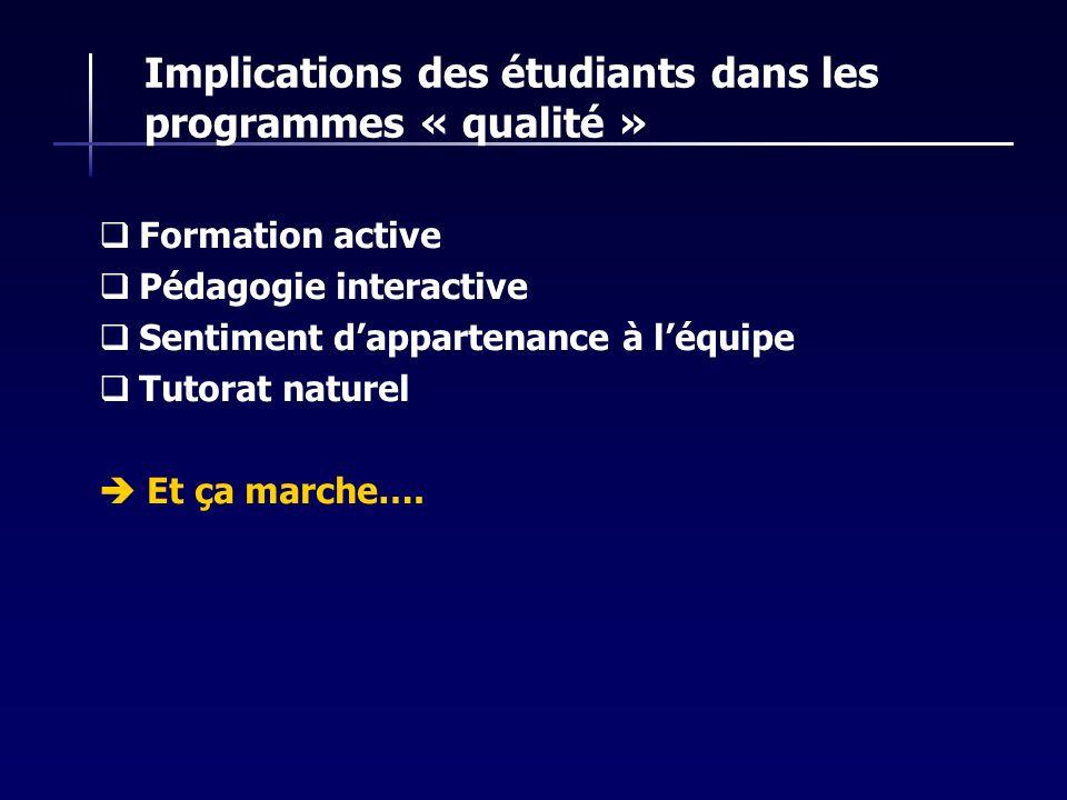 Implications des étudiants dans les programmes « qualité »