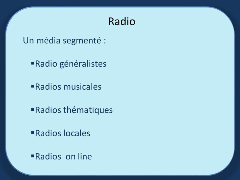 Radio Un média segmenté : Radio généralistes Radios musicales