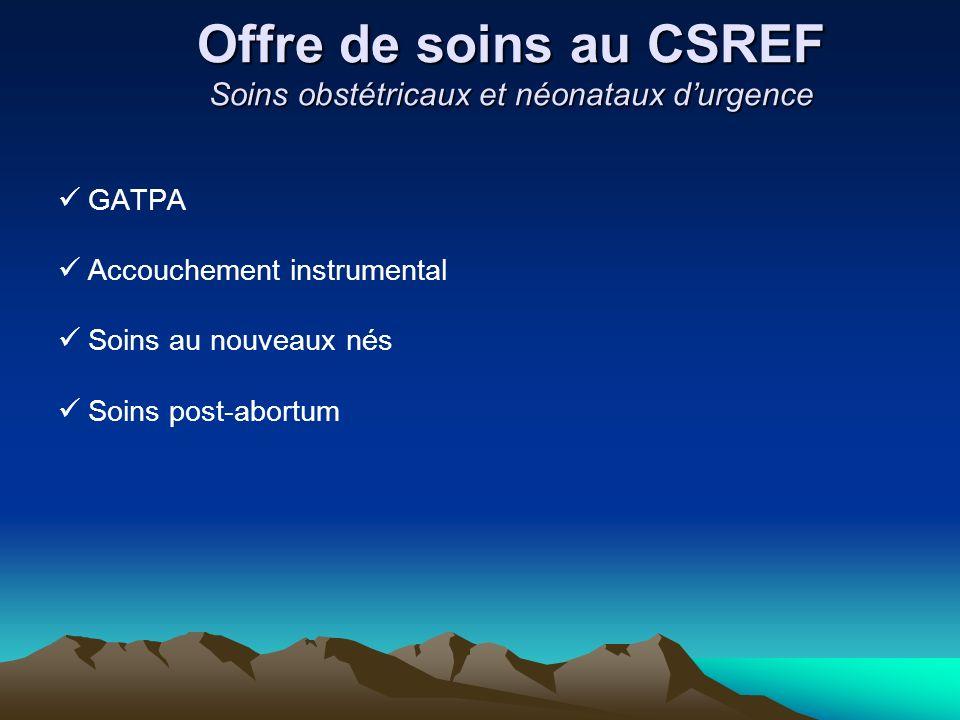 Offre de soins au CSREF Soins obstétricaux et néonataux d'urgence