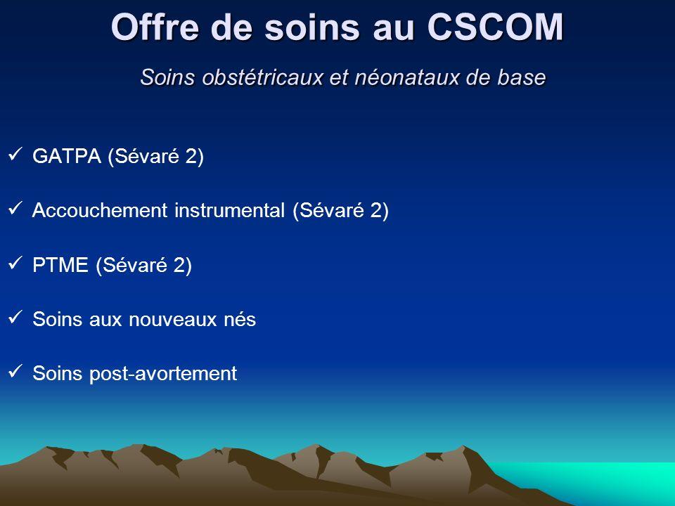 Offre de soins au CSCOM Soins obstétricaux et néonataux de base