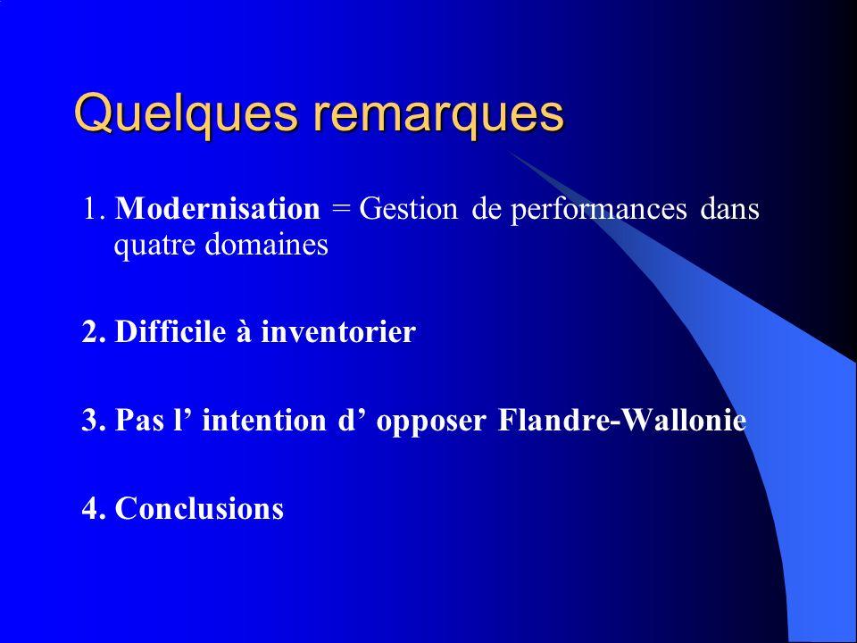 Quelques remarques 1. Modernisation = Gestion de performances dans quatre domaines. 2. Difficile à inventorier.