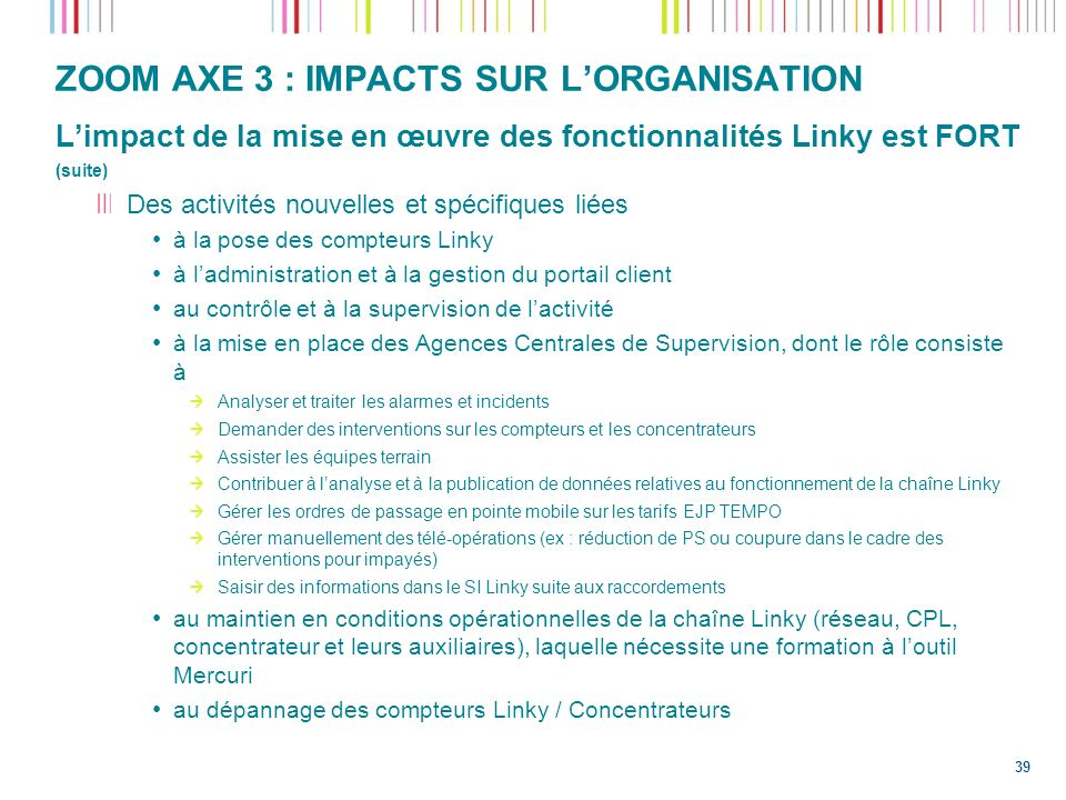 ZOOM AXE 3 : IMPACTS SUR L'ORGANISATION