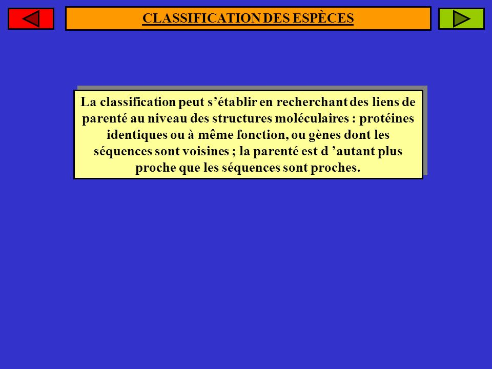 CLASSIFICATION DES ESPÈCES