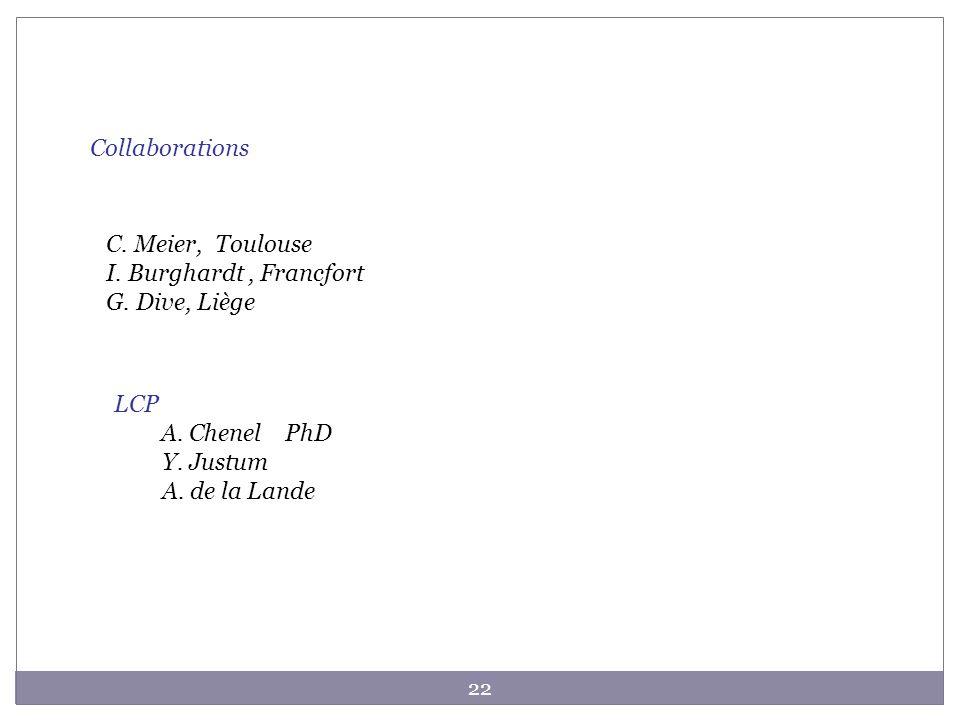 Collaborations C. Meier, Toulouse. I. Burghardt , Francfort. G. Dive, Liège. LCP. A. Chenel PhD.