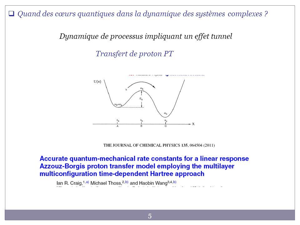 Dynamique de processus impliquant un effet tunnel