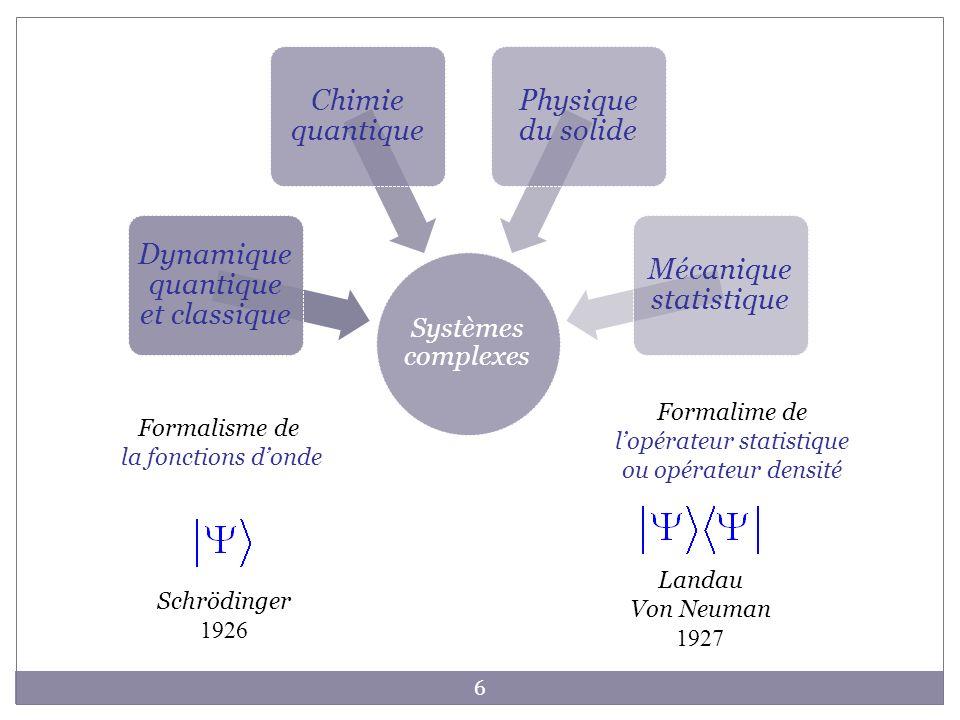 Formalime de l'opérateur statistique ou opérateur densité