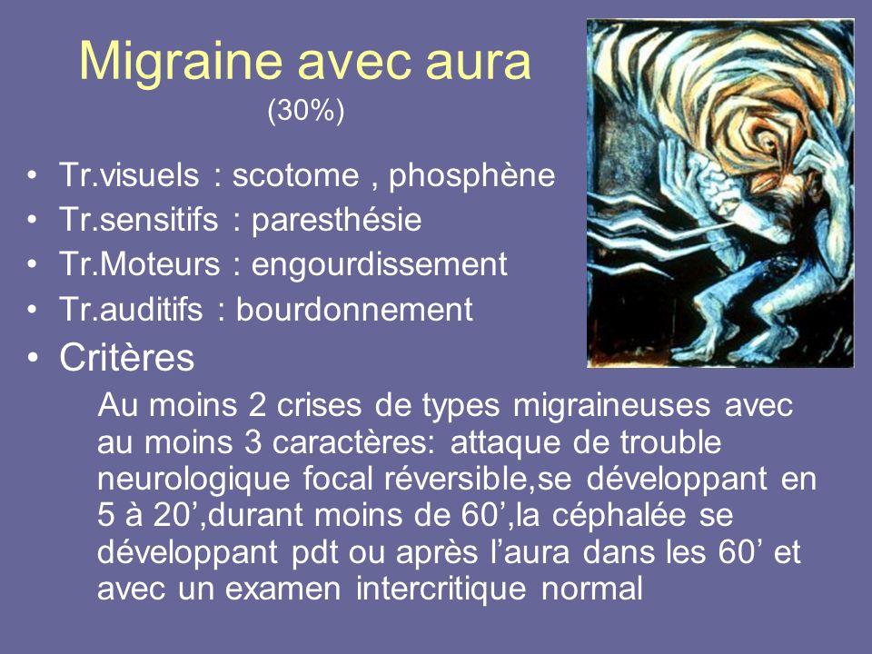 Migraine avec aura (30%) Critères Tr.visuels : scotome , phosphène