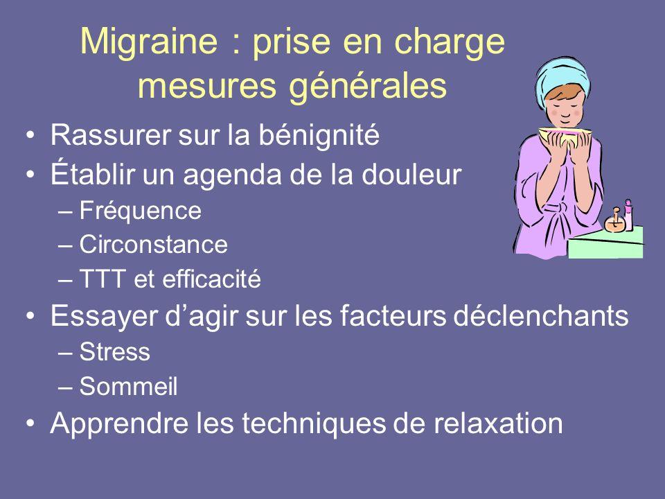 Migraine : prise en charge mesures générales