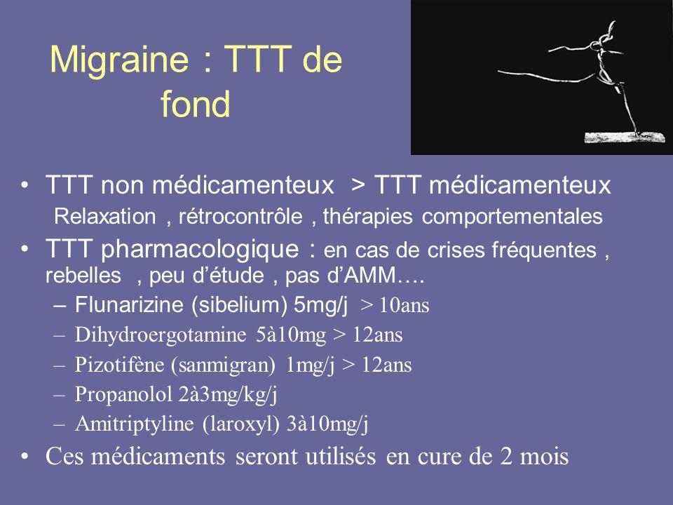 Migraine : TTT de fond TTT non médicamenteux > TTT médicamenteux