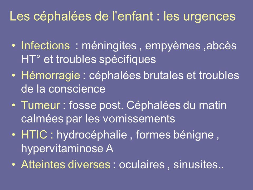 Les céphalées de l'enfant : les urgences