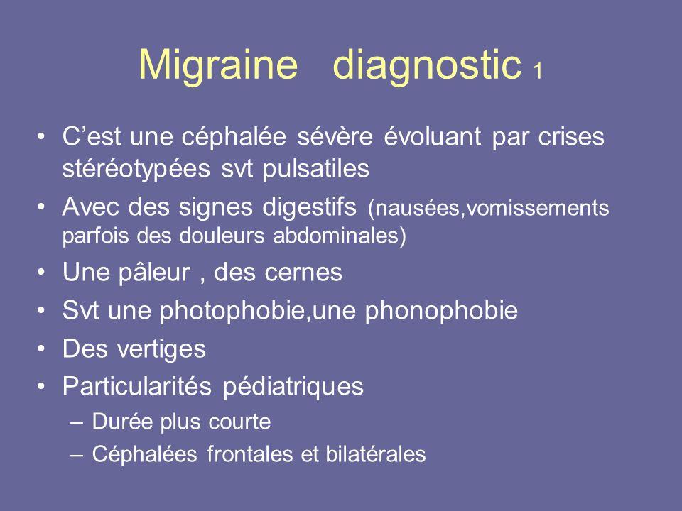 Migraine diagnostic 1 C'est une céphalée sévère évoluant par crises stéréotypées svt pulsatiles.