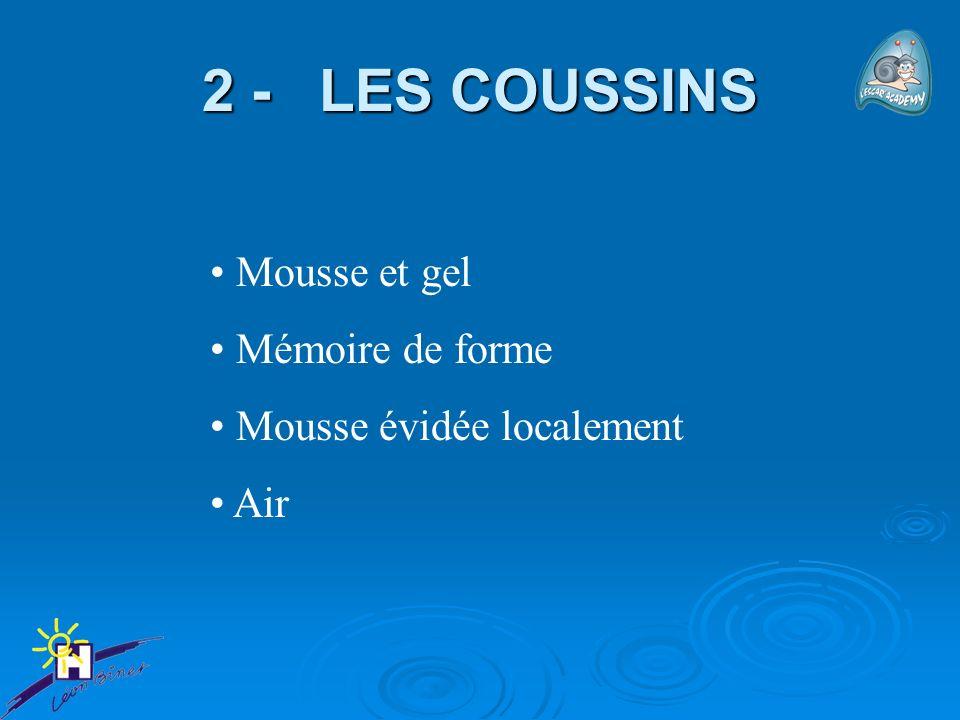 2 - LES COUSSINS Mousse et gel Mémoire de forme
