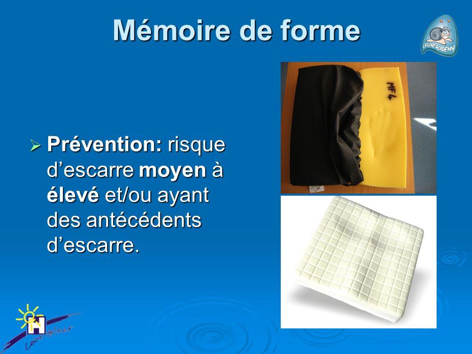Mémoire de forme Prévention: risque d'escarre moyen à élevé et/ou ayant des antécédents d'escarre.
