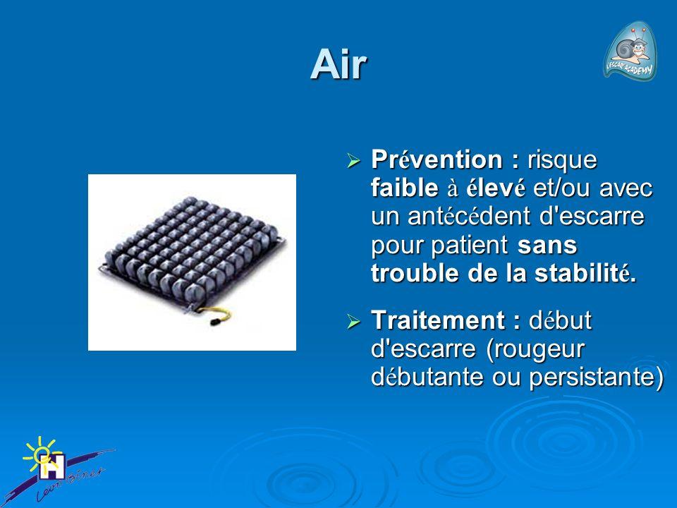 Air Prévention : risque faible à élevé et/ou avec un antécédent d escarre pour patient sans trouble de la stabilité.