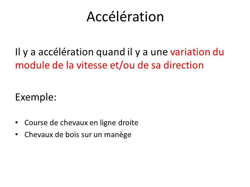 Accélération Il y a accélération quand il y a une variation du module de la vitesse et/ou de sa direction.