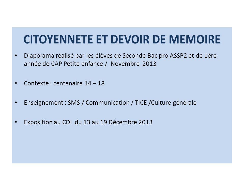 Diaporama réalisé par les élèves de Seconde Bac pro ASSP2 et de 1ère année de CAP Petite enfance / Novembre 2013