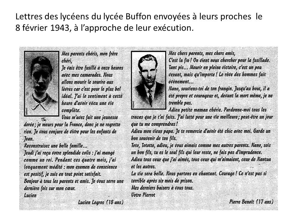 Lettres des lycéens du lycée Buffon envoyées à leurs proches le 8 février 1943, à l'approche de leur exécution.