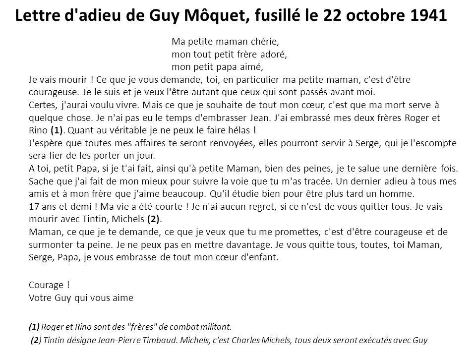 Lettre d adieu de Guy Môquet, fusillé le 22 octobre 1941